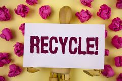 Text sign showing Recycle Motivational Call. Conceptual photo Convderting waste into reusable material written on Sticky Note pape. Text sign showing Recycle Stock Images
