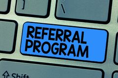 Text sign showing Referral Program. Conceptual photo sending own patient to another physician for treatment.  royalty free stock photography