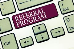 Text sign showing Referral Program. Conceptual photo sending own patient to another physician for treatment.  stock photo