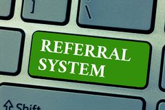 Text sign showing Referral System. Conceptual photo sending own patient to another physician for treatment.  royalty free stock photography