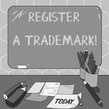 Text sign showing Register A Trademark. Conceptual photo To record or list as official company brand or logo Mounted Blank Color. Blackboard with Chalk and stock illustration