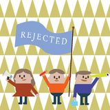 Text sign showing Rejected. Conceptual photo dismiss as inadequate unacceptable or faulty refuse to agree.  royalty free illustration