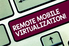 Text sign showing Remote Mobile Virtualization. Conceptual photo can remotely control an Android virtual machine. Keyboard key Intention to create computer stock photos