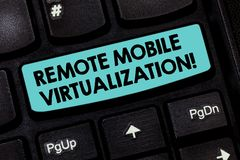 Text sign showing Remote Mobile Virtualization. Conceptual photo can remotely control an Android virtual machine. Keyboard key Intention to create computer stock images