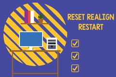 Text sign showing Reset Realign Restart. Conceptual photo Life audit will help you put things in perspectives Desktop stock illustration
