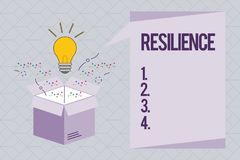 Text sign showing Resilience. Conceptual photo Capacity to recover quickly from difficulties Persistence.  royalty free illustration