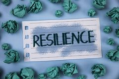 Text sign showing Resilience. Conceptual photo Capacity to recover quickly from difficulties Persistence written on Notepad Paper stock image