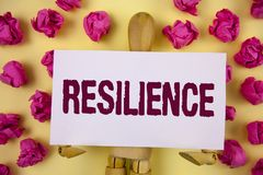Text sign showing Resilience. Conceptual photo Capacity to recover quickly from difficulties Persistence written on Sticky Note pa. Text sign showing Resilience Stock Photos