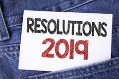 Text sign showing Resolutions 2019. Conceptual photo Positive reinforcement personal improvent corporate goals written on Sticky N. Text sign showing Resolutions Royalty Free Stock Image