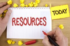 Text sign showing Resources. Conceptual photo Money Materials Staff and other assets needed to run a company written by Man on Not. Text sign showing Resources Royalty Free Stock Images