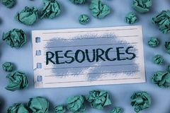 Text sign showing Resources. Conceptual photo Money Materials Staff and other assets needed to run a company written on Notepad Pa. Text sign showing Resources Royalty Free Stock Photos