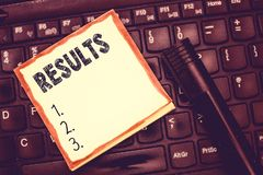 Text sign showing Results. Conceptual photo Consequences outcomes produced by something Achievement development.  stock photos
