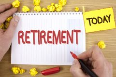 Text sign showing Retirement. Conceptual photo Leaving Job Stop Ceasing to Work after reaching some age written by Man on Notepad. Text sign showing Retirement Stock Photography