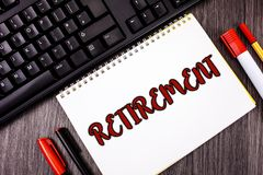 Text sign showing Retirement. Conceptual photo Leaving Job Stop Ceasing to Work after reaching some age written on Notepad on wood. Text sign showing Retirement Stock Images