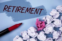 Text sign showing Retirement. Conceptual photo Leaving Job Stop Ceasing to Work after reaching some age written on Painted backgro. Text sign showing Retirement Stock Photos