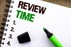 Text sign showing Review Time. Conceptual photo Evaluating Survey Reviewing Analysis Checkup Inspection Revision written on Notebo. Text sign showing Review Time Royalty Free Stock Image