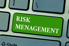 Text sign showing Risk Management. Conceptual photo evaluation of financial hazards or problems with procedures.  stock photo
