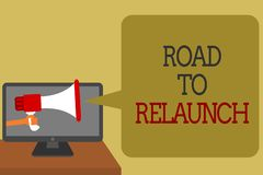 Text sign showing Road To Relaunch. Conceptual photo In the way to launch again Fresh new start Beginning Social media vector illustration