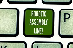 Text sign showing Robotic Assembly Line. Conceptual photo use to increase production speed and consistency Keyboard key. Intention to create computer message stock photos