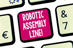 Text sign showing Robotic Assembly Line. Conceptual photo use to increase production speed and consistency Keyboard key. Intention to create computer message stock photography