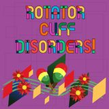 Text sign showing Rotator Cuff Disorders. Conceptual photo tissues in the shoulder get irritated or damaged Colorful Instrument. Maracas Handmade Flowers and vector illustration