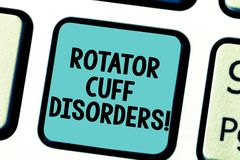 Text sign showing Rotator Cuff Disorders. Conceptual photo tissues in the shoulder get irritated or damaged Keyboard key. Intention to create computer message stock images
