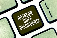 Text sign showing Rotator Cuff Disorders. Conceptual photo tissues in the shoulder get irritated or damaged Keyboard key stock photos