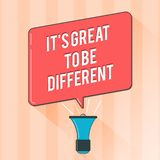 Text sign showing It s is Great To Be Different. Conceptual photo Embrace your individuality and uniqueness.  royalty free illustration