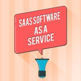 Text sign showing Saas Software As A Service. Conceptual photo the use of cloud based App over the Internet.  vector illustration