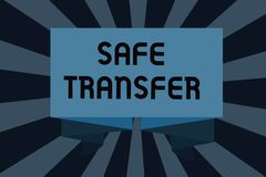 Text sign showing Safe Transfer. Conceptual photo Wire Transfers electronically Not paper based Transaction.  Stock Illustration