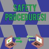 Text sign showing Safety Procedures. Conceptual photo Follow rules and regulations for workplace security Exchange Arrow. Text sign showing Safety Procedures stock illustration