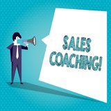 Text sign showing Sales Coaching. Conceptual photo analysisage their team by analyzing metrics and KPIs of selling. Text sign showing Sales Coaching. Business royalty free illustration