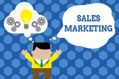 Text sign showing Sales Marketing. Conceptual photo introducing product or service in order to get bought Standing man. Text sign showing Sales Marketing stock illustration