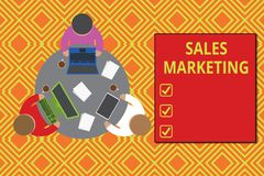 Text sign showing Sales Marketing. Conceptual photo introducing product or service in order to get bought Working round. Text sign showing Sales Marketing royalty free illustration