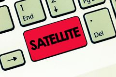Text sign showing Satellite. Conceptual photo Artificial body placed in orbit round the earth or another planet stock images