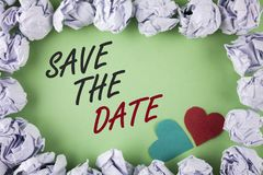 Text sign showing Save The Date. Conceptual photo Organizing events well make day special by event organizers written on plain gre. Text sign showing Save The Royalty Free Stock Photography