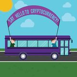 Text sign showing Say Hello To Cryptocurrency. Conceptual photo Introducing decentralized money exchange Two Kids Inside royalty free illustration