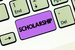 Text sign showing Scholarship. Conceptual photo Grant or Payment made to support education Academic Study.  stock images