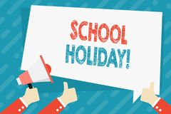 Text sign showing School Holiday. Conceptual photo the periods during which schools are closed from study Hand Holding. Text sign showing School Holiday stock illustration