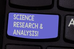 Text sign showing Science Research And Analysis. Conceptual photo Laboratory medical investigation experiment Keyboard. Key Intention to create computer message royalty free stock image