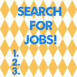 Text sign showing Search For Jobs. Conceptual photo Unemployed looking for new opportunities Headhunting Harlequin. Design Diamond Shape in Seamless Repitition stock illustration