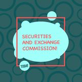 Text sign showing Securities And Exchange Commission. Conceptual photo Safety exchanging commissions financial. Asymmetrical Blank Oval photo Abstract Shape stock illustration