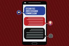 Text sign showing Securities And Exchange Commission. Conceptual photo Safety exchanging commissions financial Mobile. Messenger Screen with Chat Heads and vector illustration