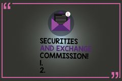 Text sign showing Securities And Exchange Commission. Conceptual photo Safety exchanging commissions financial Open. Envelope with Paper New Email Message royalty free illustration