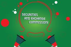 Text sign showing Securities And Exchange Commission. Conceptual photo Safety exchanging commissions financial Two. Megaphone and Circular Outline with Small vector illustration