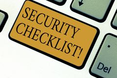 Text sign showing Security Checklist. Conceptual photo list with authorized names to enter allowing procedures Keyboard. Key Intention to create computer stock images