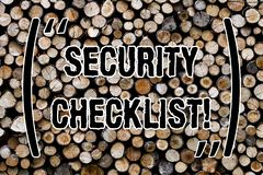 Text sign showing Security Checklist. Conceptual photo list with authorized names to enter allowing procedures Wooden background. Vintage wood wild message royalty free stock image