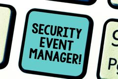 Text sign showing Security Event Manager. Conceptual photo tools used to analysisage multiple security applications. Keyboard key Intention to create computer stock photo