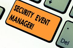 Text sign showing Security Event Manager. Conceptual photo tools used to analysisage multiple security applications. Keyboard key Intention to create computer stock photos