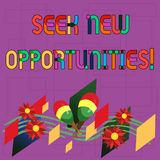 Text sign showing Seek New Opportunities. Conceptual photo looking for a new job or another business venture Colorful. Instrument Maracas Handmade Flowers and vector illustration